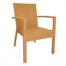 CRE-DL478 Fauteuil de terrasse empilable tressage pvc naturel