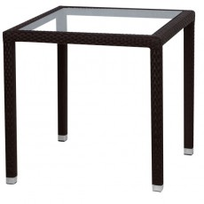 TTV-58-MC Table terrassse tressage pvc couleur marron DESTOCKAGE