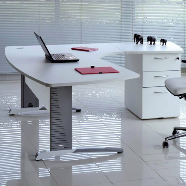 bureau plan compact manager blanc l 200 cm p160 cm avec retour sur caisson mic bh181s gd office. Black Bedroom Furniture Sets. Home Design Ideas