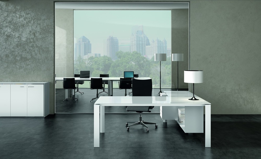 bureau d 39 angle en verre design retour caisson bois x7 c12 gd office. Black Bedroom Furniture Sets. Home Design Ideas
